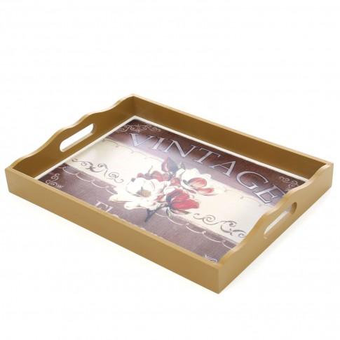 Tava dreptunghiulara pentru servire, din MDF, MT1001, multicolora, 40 x 30 x 5.5 cm