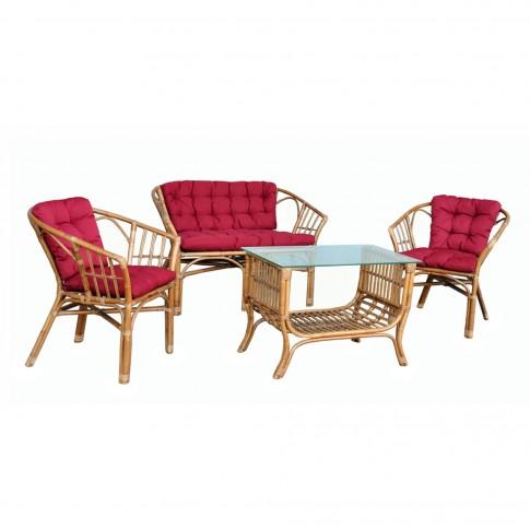 Set masa dreptunghiulara, cu 2 scaune + 1 canapea cu perne, pentru gradina Bonanza DC780, din ratan natural