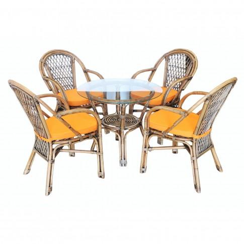 Set masa rotunda, cu 4 scaune cu perne, pentru gradina Saipan SC742, din ratan natural