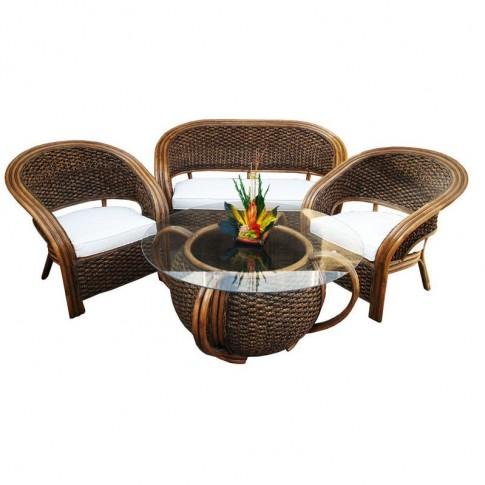 Set masa rotunda, cu 2 fotolii + 1 canapea cu perne, pentru gradina DC915, din  ratan natural