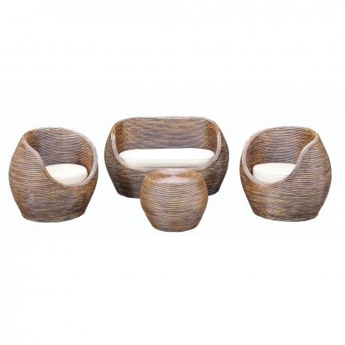 Set masa patrata, cu 2 fotolii + 1 canapea cu perne, pentru gradina Trinidad SC614, din ratan natural