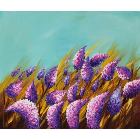 Tablou, compozitie cu flori, canvas + sasiu brad, 60 x 50 cm