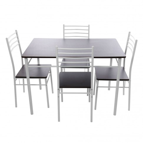 Set masa fixa cu 4 scaune DS25049M, bucatarie, wenge + alb, 1C