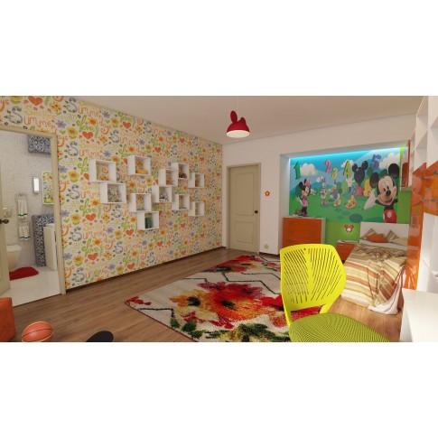 Scaun birou operational pentru copii Carnation, rotativ, mesh, verde