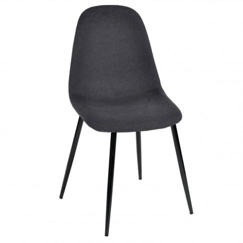 Scaun bucatarie / living fix Charlton, tapitat, otel negru + material textil negru