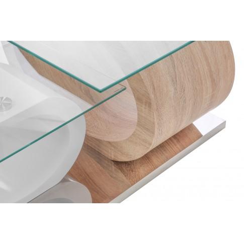 Masuta cafea din sticla Ring NT 280, dreptunghiulara, alb + stejar, 97 x 70 x 44.5 cm, 3C