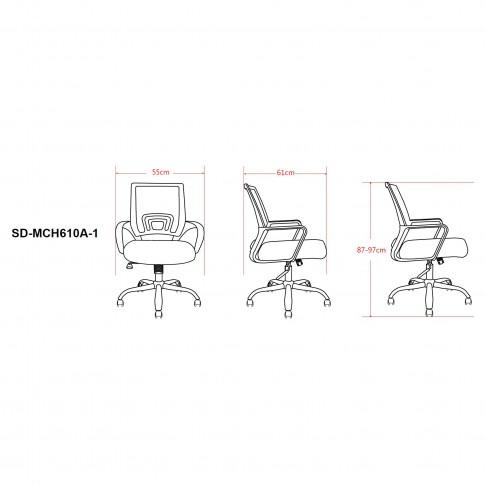 Scaun birou operational SD-MCH610A, rotativ, mesh, negru