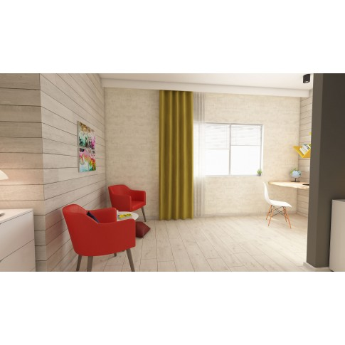 Scaun bucatarie / living fix Rico, lemn natur + otel, plastic alb