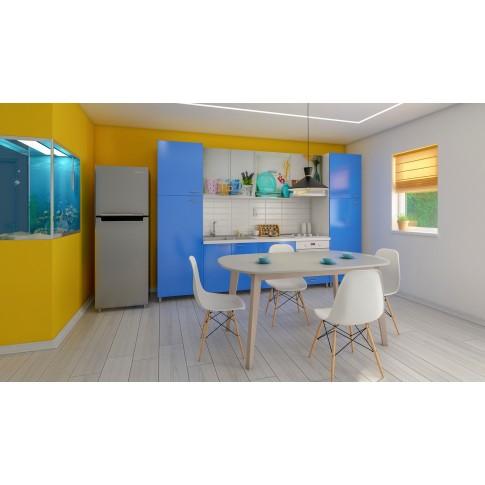 Scaun bucatarie / living fix Rico, lemn natur + otel, PP alb