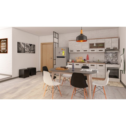 Scaun bucatarie / living fix Rico, lemn natur + otel, plastic negru