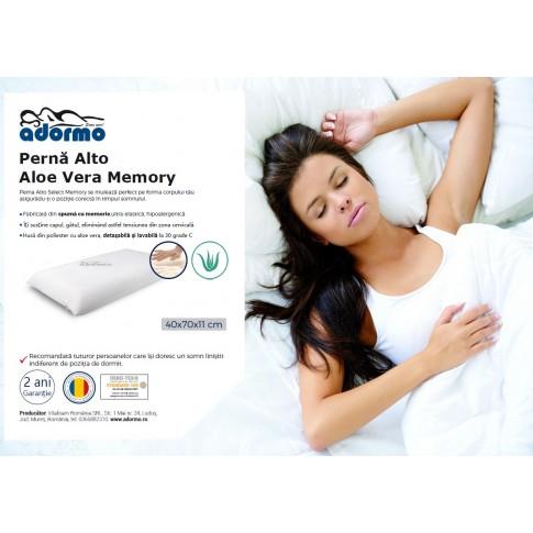 Perna pentru dormit Adormo Alto Aloe Vera Memory, spuma cu memorie, alb, 40 x 70 x 11 cm