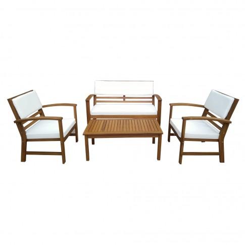 Set masa dreptunghiulara, cu 2  scaune + 1 banca cu perne, pentru gradina THB-S1235, din lemn