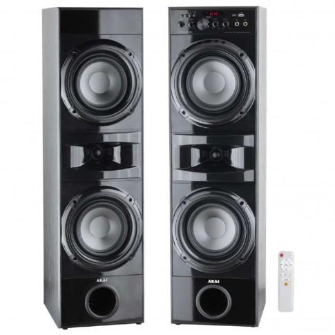Sistem audio Akai SS035A-189, 2 boxe active, 90 W, Bluetooth, USB, SD card, 2 intrari Mic, radio FM, negru, telecomanda