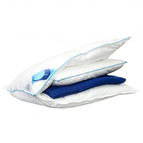 Perna pentru dormit Green Future Life 3 in 1, nanofibra + spuma memory, alb + albastru, 50 x 70 cm