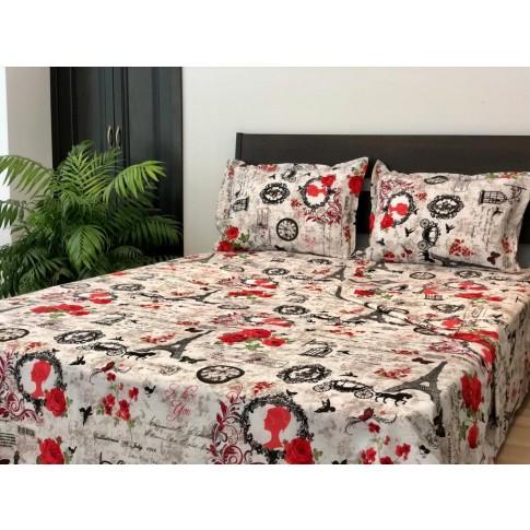 Lenjerie de pat, 2 persoane, Rossa, bumbac + poliester, 4 piese, rosu + alb