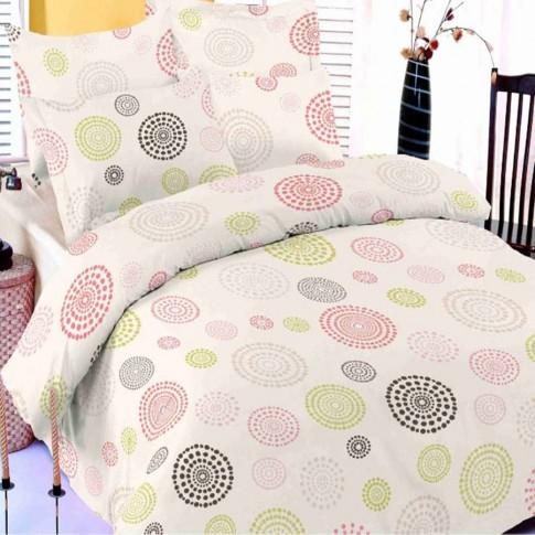 Lenjerie de pat, 2 persoane, Vallerosa Circle, bumbac + poliester, 4 piese, ecru