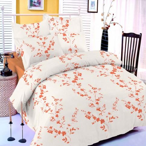 Lenjerie de pat, 2 persoane, Vallerosa Henley, bumbac + poliester, 4 piese, portocaliu