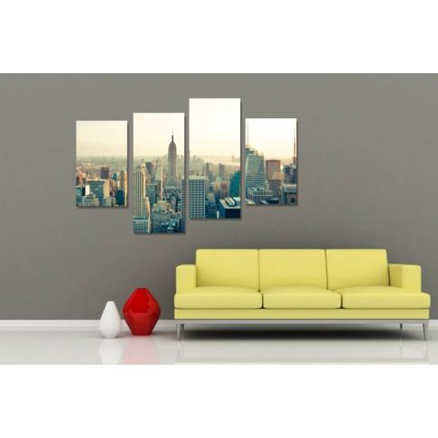 Tablou, 4 piese, Viata in New York, canvas + sasiu brad, 2 piese - 30 x 50 cm + 2 piese - 30 x 70 cm