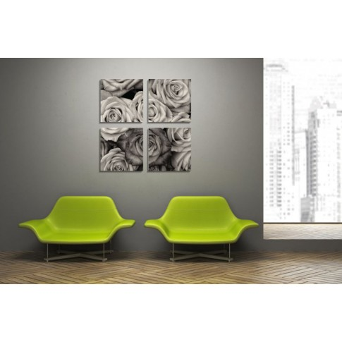 Tablou PT1204 , 4 piese, Trandafiri, canvas + sasiu brad, 80 x 80 cm