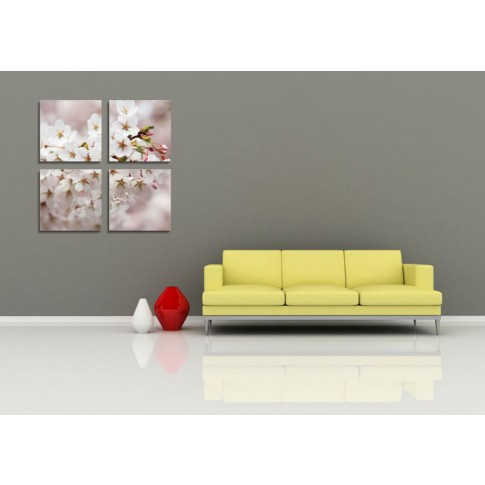 Tablou PT1206, 4 piese, Flori de cires, canvas + sasiu brad, 80 x 80 cm