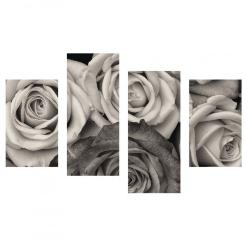 Tablou PT1208, 4 piese, Trandafiri, canvas + sasiu brad, 2 piese - 30 x 50 cm + 2 piese - 30 x 70 cm
