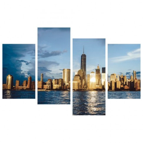 Tablou, 4 piese, peisaj urban, canvas + sasiu brad, 2 piese - 30 x 50 cm + 2 piese - 30 x 70 cm