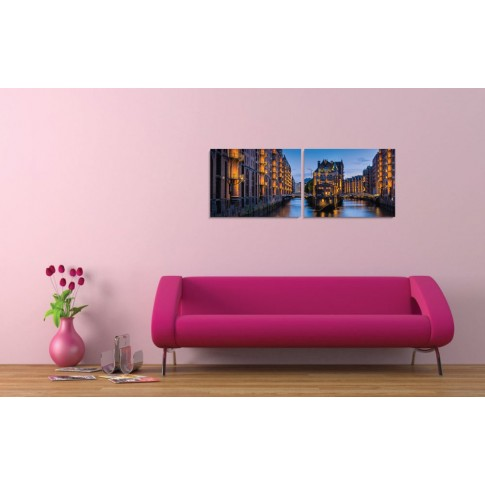 Tablou PT1520, 2 piese, peisaj urban, canvas + sasiu brad, 90 x 35 cm