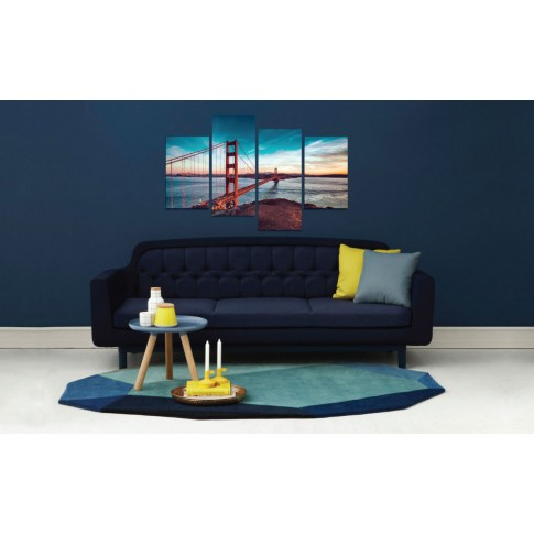 Tablou PT1521, 4 piese, peisaj urban, canvas + sasiu brad, 2 piese - 30 x 50 cm + 2 piese - 30 x 70 cm