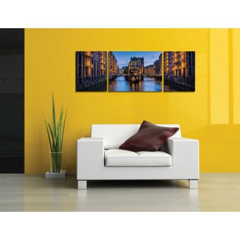 Tablou PT1523, 3 piese, peisaj urban, canvas + sasiu brad, 130 x 45 cm