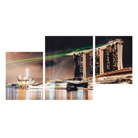 Tablou PT1526, 3 piese, peisaj urban, canvas + sasiu brad, 2 piese - 35 x 45 cm + 1 piesa - 45 x 60 cm