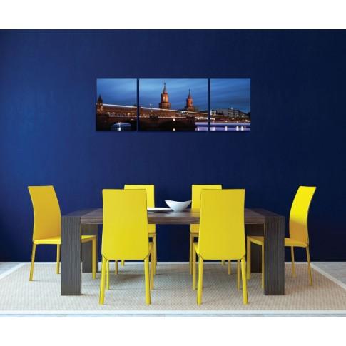 Tablou PT1527, 3 piese, peisaj urban, canvas + sasiu brad, 130 x 45 cm