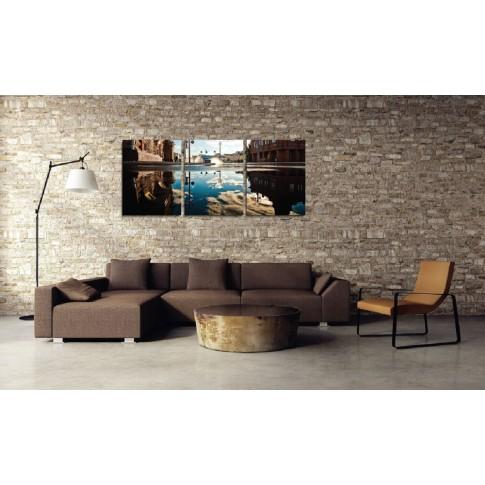 Tablou PT1528, 3 piese, peisaj urban, canvas + sasiu brad, 135 x 60 cm