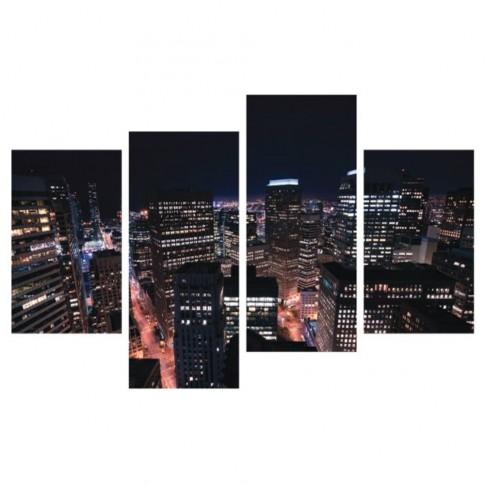 Tablou, 4 piese, peisaj urban nocturn, canvas + sasiu brad, 2 piese - 30 x 50 cm + 2 piese - 30 x 70 cm
