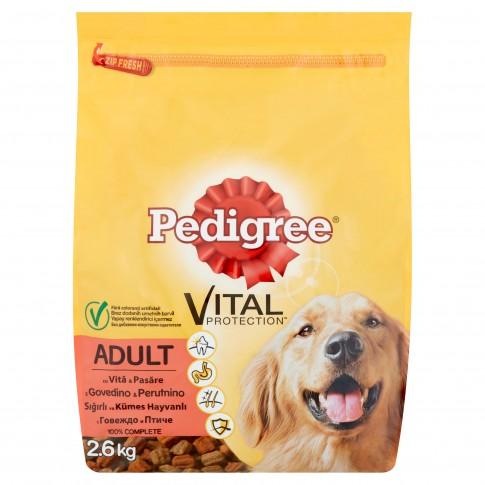 Hrana uscata pentru caini, Pedigree Vital Protection, adult, carne de vita si pasare, 2.6kg