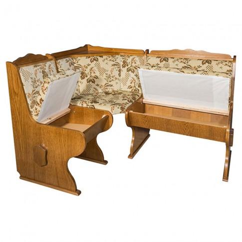 Coltar bucatarie Freiberg, cu 2 scaune + masa, cu lada, fag + stejar + crem, 141 x 110 x 86 cm 5C
