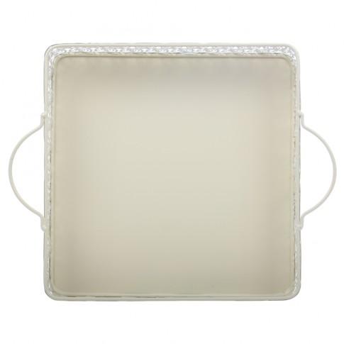 Tava patrata decorativa, din metal, crem, 1708L, 26.5 x 5.5 cm