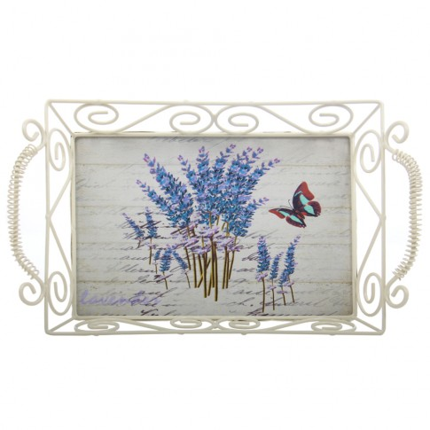 Tava dreptunghiulara decorativa, din metal + MDF,  1720S, multicolora, 33 x 20 x 9 cm