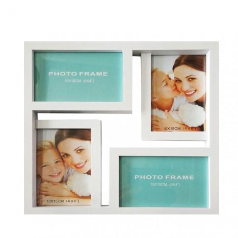 Rama foto, patrata, LB-243, alba, plastic + sticla + carton, 29 x 29 cm