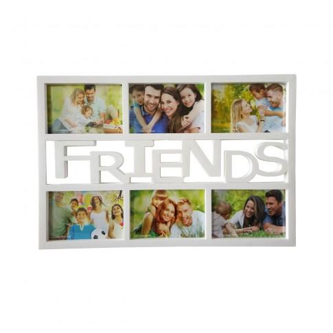 Rama foto, dreptunghiulara, LB-243, Friends, alba, plastic + sticla + carton, 45 x 30 cm