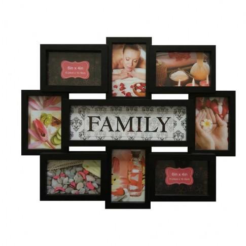 Rama foto, colaj, LB-151, Family, neagra, plastic + sticla + carton, 45 x 56 cm