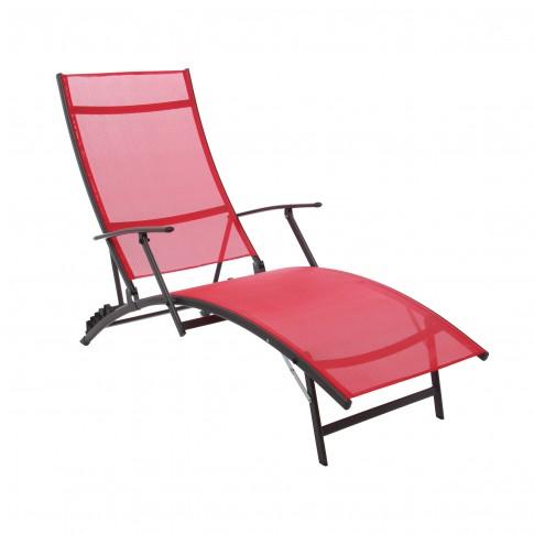 Sezlong plaja, spatar reglabil, structura metalica, rosu, 176 x 54.5 x 35/96 cm