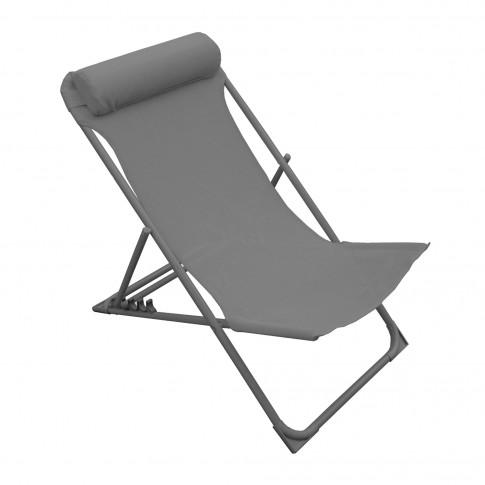 Scaun plaja AT-0006, pliabil, metal + material textil, gri, 80 x 60.5 x 92 cm