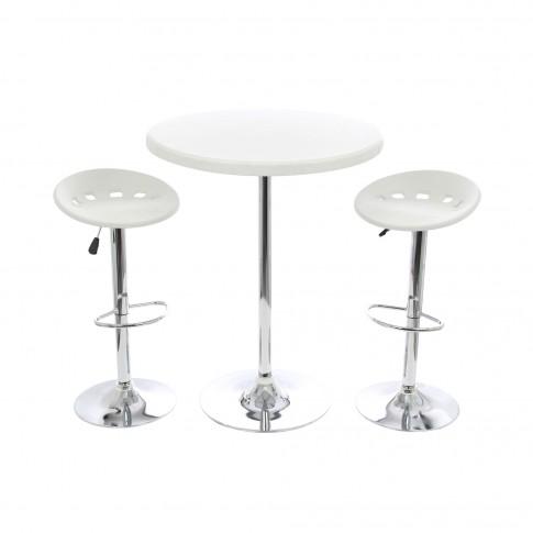 Set masa rotunda, cu 2 scaune, pentru gradina Bistro, din metal cu PVC