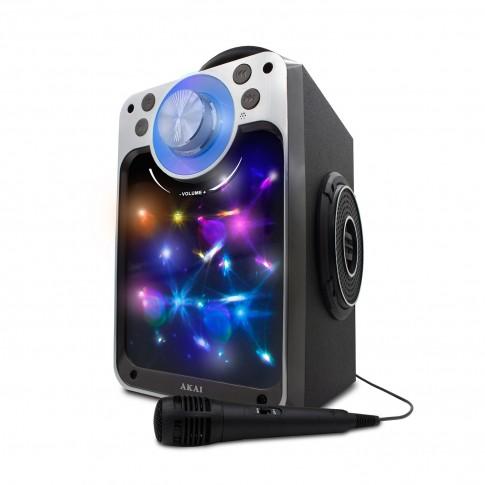 Boxa portabila activa Akai CEU7300-BT, 6 W, Bluetooth, USB, Aux in, radio FM, negru, microfon, lumini cu efect disco