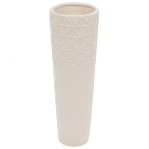 Vaza ceramica decorativa, M 12010 217, alb, model in relief, 30 x 10 cm