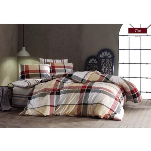 Lenjerie de pat, 2 persoane, Cizgi, bumbac 100%, 4 piese, multicolor