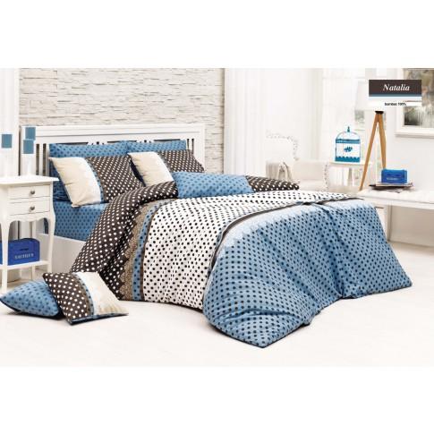Lenjerie de pat, 2 persoane, Natalia, bumbac 100%, 4 piese, multicolor