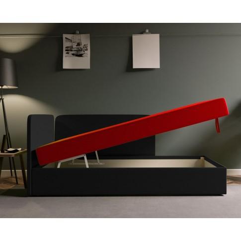 Pat dormitor Sole, o persoana, tapitat, pe dreapta, cu lada, negru + rosu, 80 x 190 cm, 2C