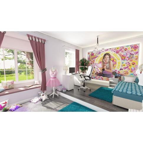 Pat dormitor Sole, o persoana, tapitat, pe dreapta, cu lada, crem + albastru, 80 x 200 cm, 2C