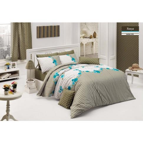 Lenjerie de pat, 2 persoane, Tanya, bumbac 100%, 4 piese, albastru + verde + alb